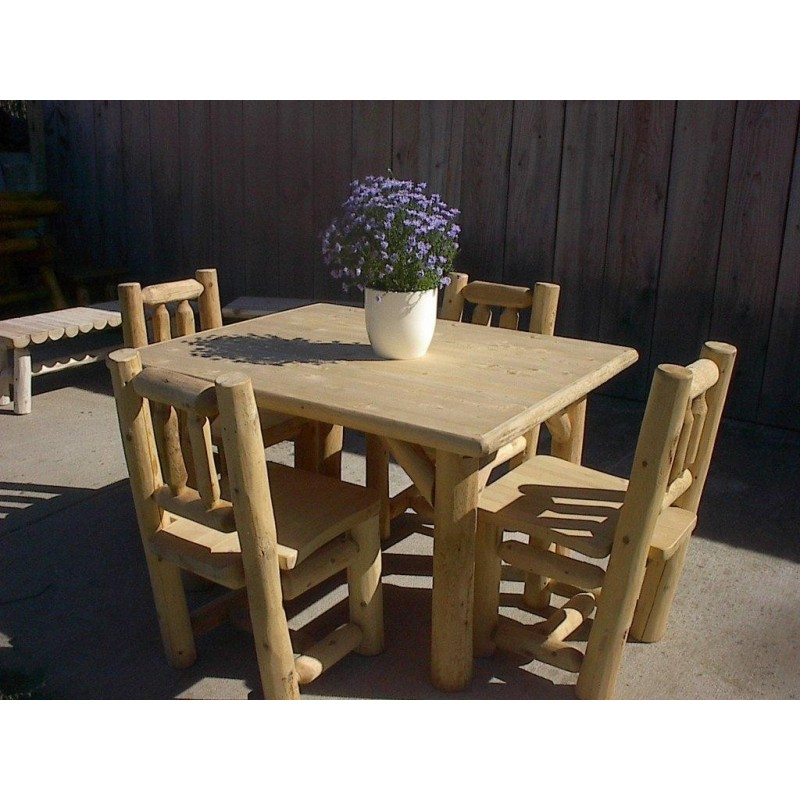 Log Kitchen Table And Chairs Part - 20: White Cedar Log Table And Chair Set ...