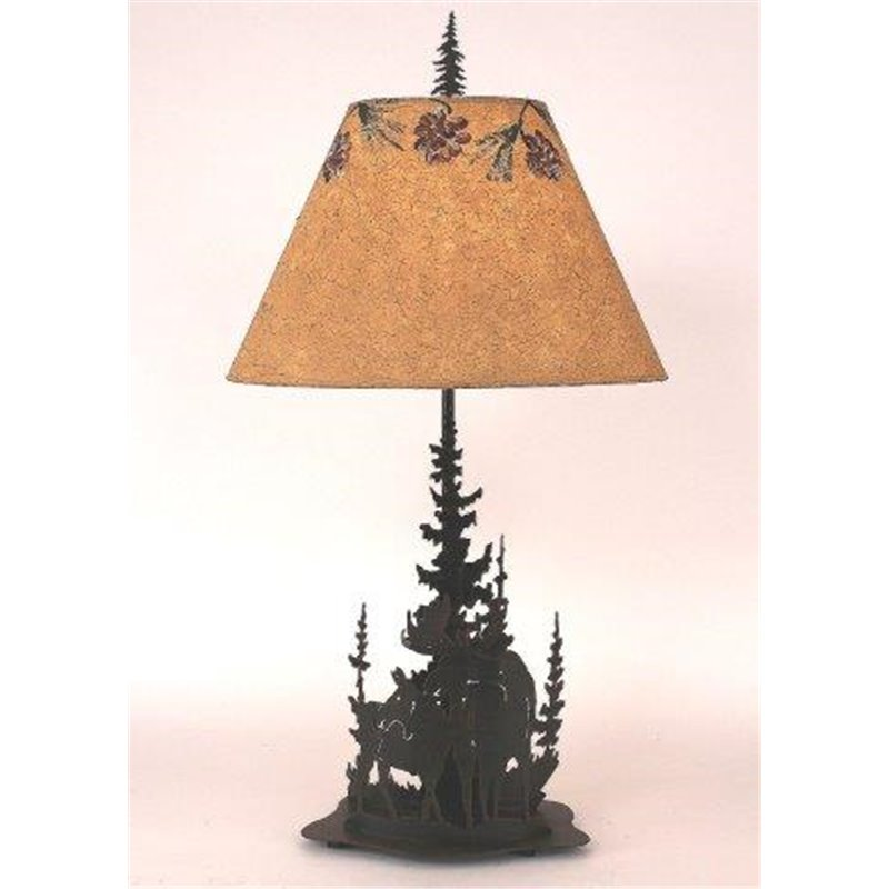 Iron Feather Pine Tree U0026 Moose Table Lamp