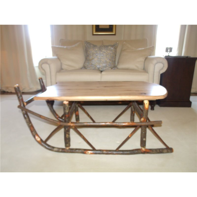 Sleigh Coffee Table Part - 16: ... Rustic Hickory Sleigh Coffee Table - Hickory U0026 Oak Or All Hickory ...