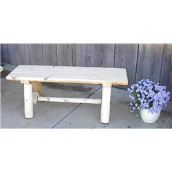 White Cedar Log Rustic Backless Garden / Patio Bench 4/5/6 Ft.