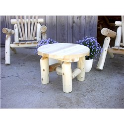 White Cedar Log Rustic Round End Table