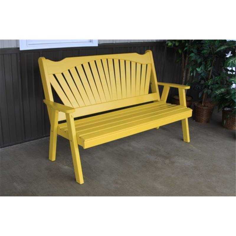 Pine 4 39 fanback bench a l for Painted benches outdoor