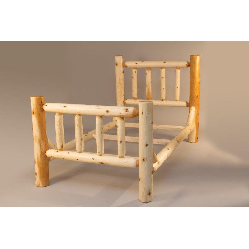 White Cedar Log Mission Style Single Rail Bed
