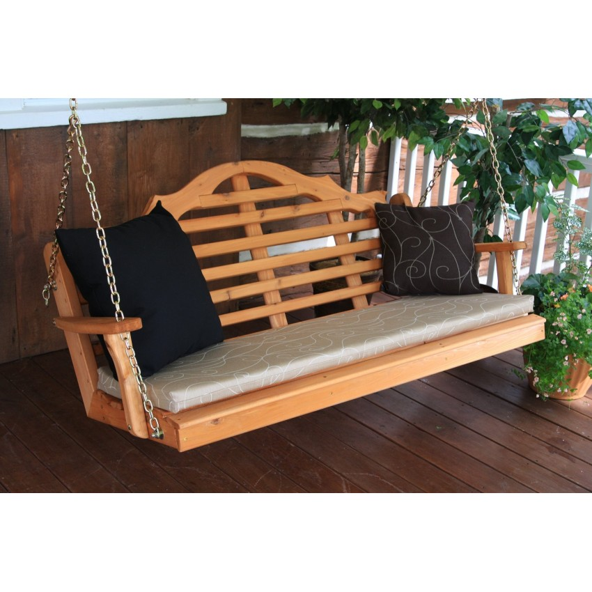 Painted / Stained Marlboro Porch Swing - Cedar Stain, with cushion ...