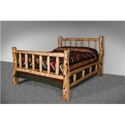 Rustic Red Cedar Log Double Top Rail Bed - Twin, Full, Queen, or King
