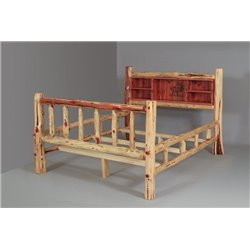 Rustic Red Cedar Log Double Side Rail Bed with Wood Burn Book Shelf Head Board- Twin, Full, Queen, or King