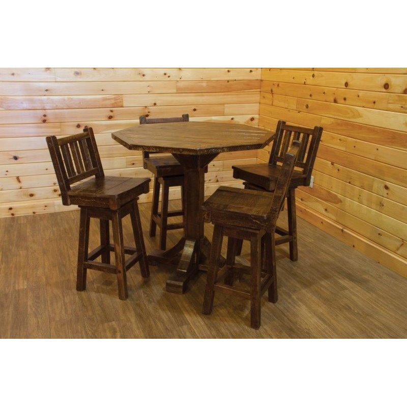 Barn Wood Style Bistro Table With 4 Swivel Stools