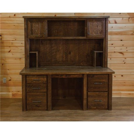 Barn Wood Style Timber Peg Executive Desk with Hutch - Barn Wood Style Executive Desk With Hutch
