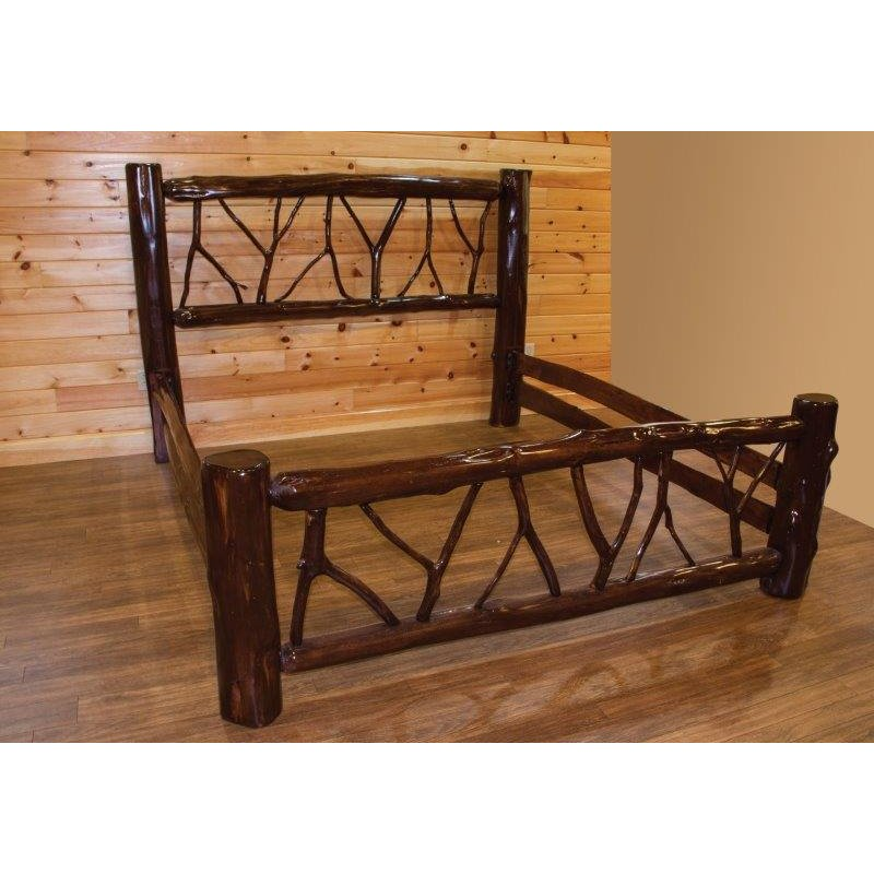 Rustic stained red cedar log twig bed Adirondack bed frame
