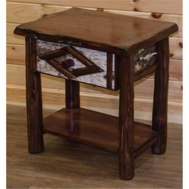 ... Rustic Live Edge Red Cedar Log 1 Drawer End Table / Night Stand ...