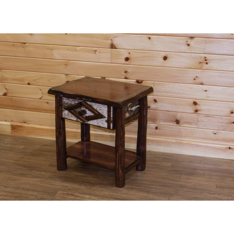Rustic live edge red cedar log 1 drawer side table for Rustic side table
