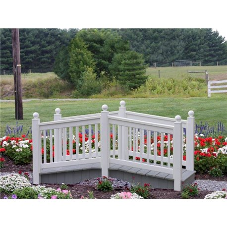 Outdoor White Vinyl & Poly Bridge - 8 Foot White