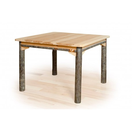 Solid Top Rustic Hickory Dining Table - Hickory or Oak Top