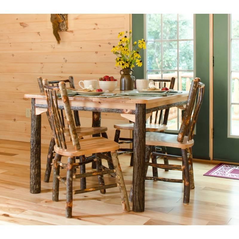 "Rustic Dining Room Table Sets: Rustic Hickory Solid Top 42"" Table With 4 Chairs"