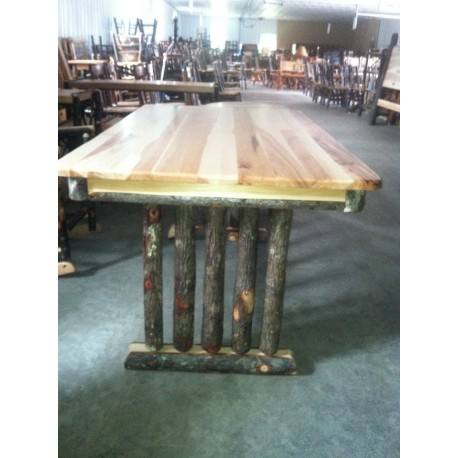 Rustic Hickory Trestle Dining Table - Multiple Sizes