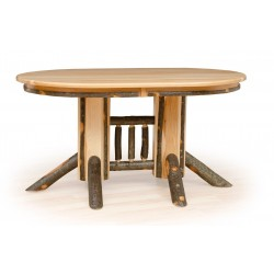 Rustic Hickory Double Pedestal Oval Dining Table - Oak or Hickory Top - Multiple Sizes