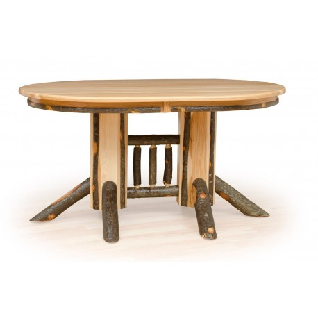 rustic hickory double pedestal solid top oval dining table. Black Bedroom Furniture Sets. Home Design Ideas