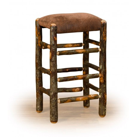 "Rustic Hickory 24"" Counter Stool - Faux Brown Leather Seat"