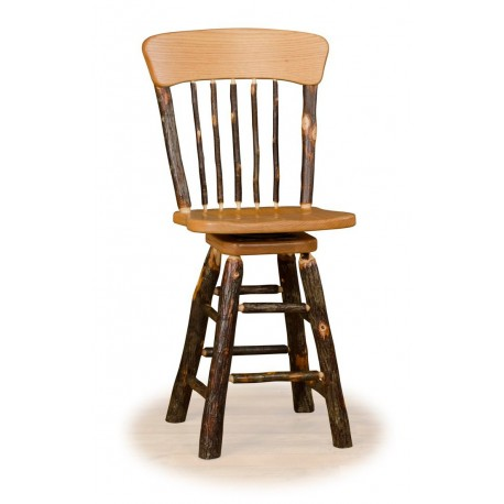 """Rustic Hickory 24"""" Panel Back Swivel Counter Stool"""