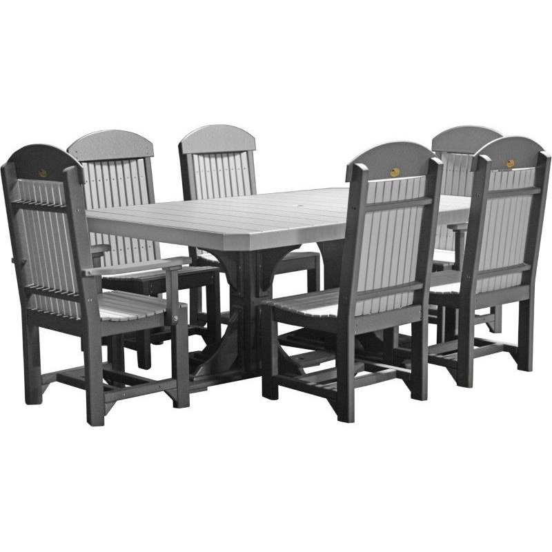 poly 4x6' regtangle double pedestal table set