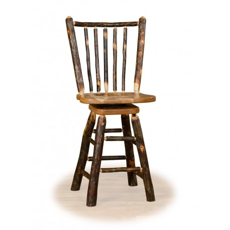 "Rustic Hickory 24"" Stick Back Swivel Counter Stool - Hickory & Oak or All Hickory"