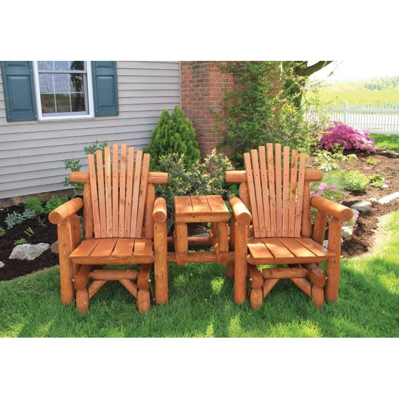 Rustic Stained White Cedar Log Adirondack Gliding Settee With Center Table  ...