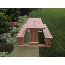 Commercial Grade Indoor/Outdoor Red Cedar Pub Trestle Table - 4, 5, 6, & 8 Foot Lengths