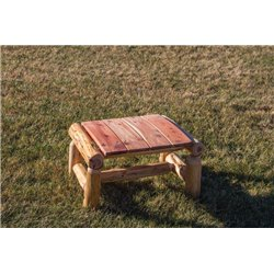 Rustic Red Cedar Log Outdoor Ottoman / Foot Stool