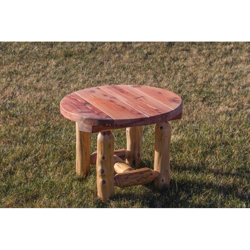 Rustic Red Cedar Log Outdoor Round End/Side Table ...