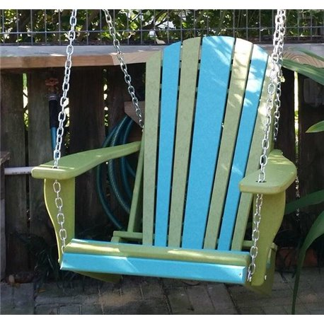Poly Lumber Adirondack Swing Chair with Chains - Two Tone Tropical