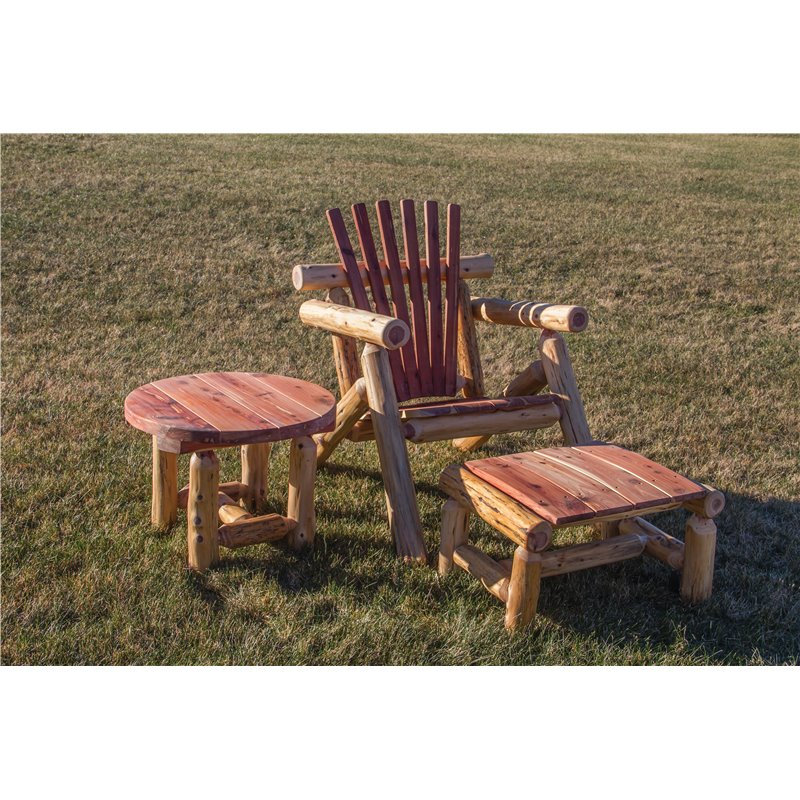 rustic red table red cedar log outdoor adirondack chair sset