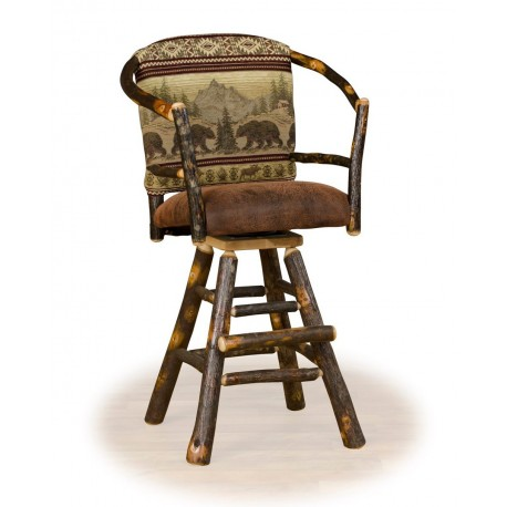 """Two Rustic Hickory 24"""" Swivel Hoop Counter Stools"""