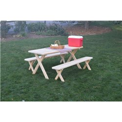 Pressure Treated Pine Cross Leg Picnic Table With Detached Benches   4, 5, 6