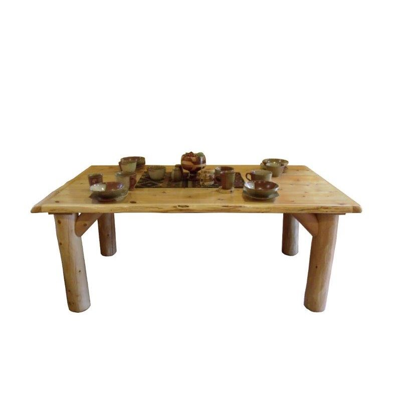 rustic white cedar log dining table set with 4 or 6 chairs amish