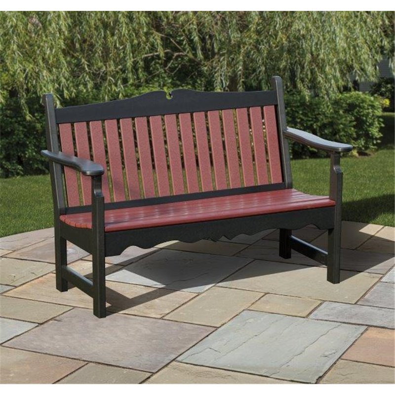 Poly Garden Bench With Back