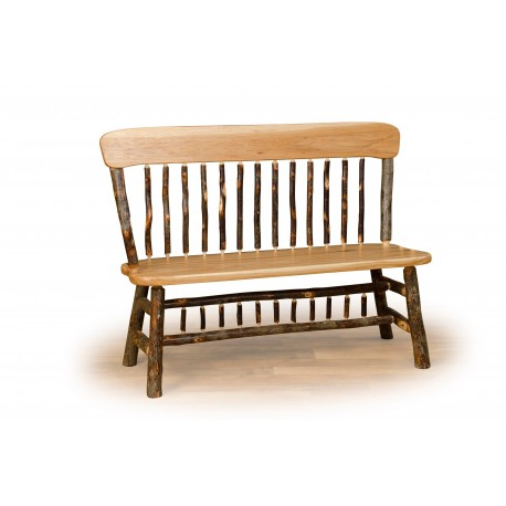 Rustic Hickory Deacon Bench with Wood Back - Oak & Hickory or All Hickory