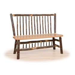 Rustic Hickory Stick Back Deacon Bench - With or Without Arms