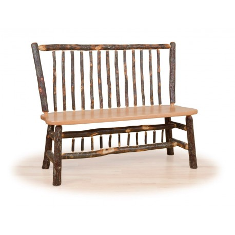 Rustic Hickory Stick Back Deacon Bench