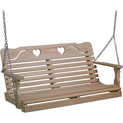 Pressure Treated Pine Highback Porch Swing with HEART Cut Outs - 4 & 5 Foot Lengths Available