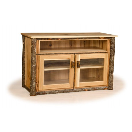 Rustic Hickory TV Stand with Glass Front Cabinet - Hickory & Oak or All Hickory