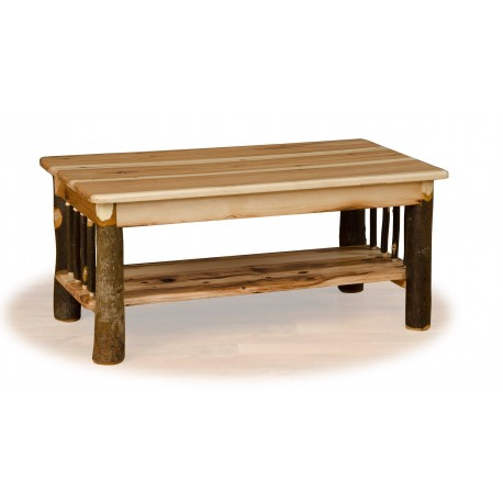 Rustic Hickory Log Coffee Table with Shelf