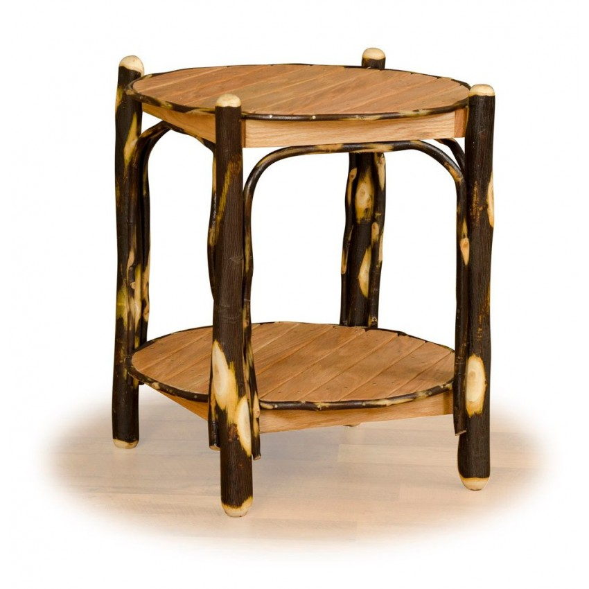 Rustic Hickory Oak 2 Tier Round End Table Furniture
