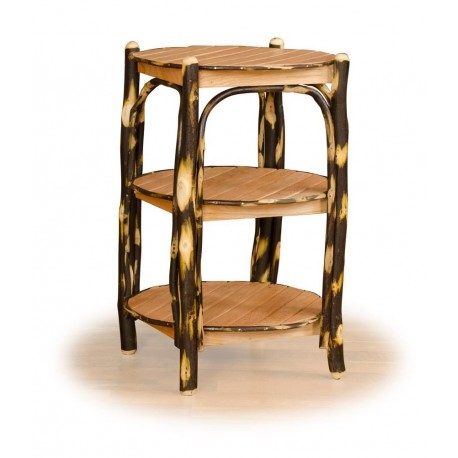 Rustic Hickory & Oak 3 Tier Round End Table