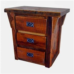 Rustic Natural Reclaimed Barn Wood 3-Drawer Nightstand/End Table