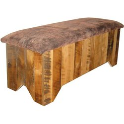 Rustic Natural Reclaimed Barn Wood Seat Top Blanket Chest