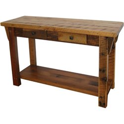 Rustic Natural Reclaimed Barn Wood Sofa Table with Shelf