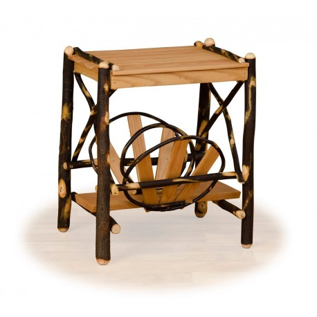 Rustic Hickory & Oak Magazine Rack End Table