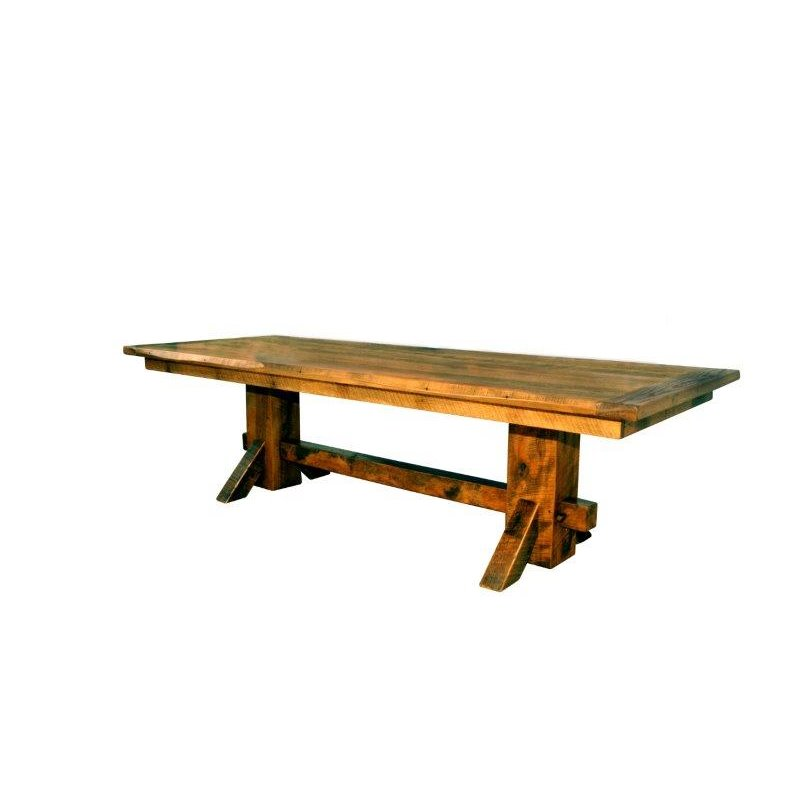 Rustic reclaimed barn wood double pedestal dining table Rustic wood dining table