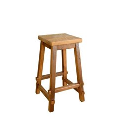 Rustic Reclaimed Barn Wood Square Top Stool - Counter or Bar Height (Natural Clear Coat Finish)