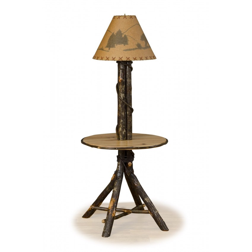 Rustic hickory floor table lamp furniturebarusa for Floor lamp with table